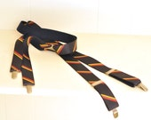 Clip on Suspenders Braces Navy Blue W/ Yellow, Green & Red Stripes Reggae Vintage Patina Silver Hardware Menswear Unisex Roebucks