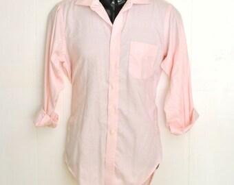 Men's Dress Shirt Pink Medium Long Sleeve L/S 15 - 32 Pin Point Oxford Vintage Menswear Fashion Made in U.S.A. America