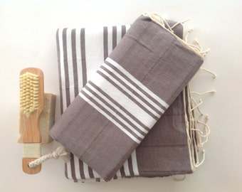 Natural Turkish BATH and Head Towel Set: Peshtemal and Peshkir set, SPA set, Hammam, yoga, bathroombeach, Grey
