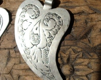 Moroccan tarnished heart hand engraved  pendant