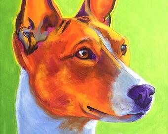 Basenji, Pet Portrait, DawgArt, Dog Art, Pet Portrait Artist, Colorful Pet Portrait, Basenji Art, Art Prints, Dog Painting, Colorful Basenji