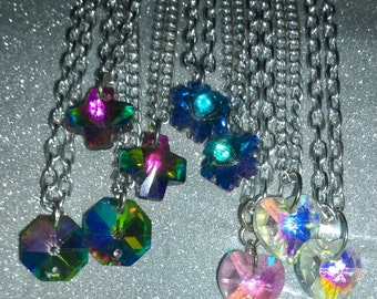 75% OFF Necklace Iridescent Crystal AB Rainbow Faceted Glass Hexagon Rainbow Multicololor Girl Ladies Scene Style Twilight Holiday Vacation