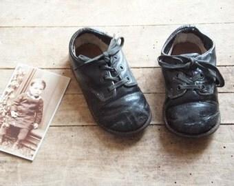 Vintage Children's Black Oxford Shoes
