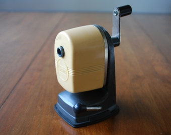 Vintage Sears Pencil Sharpener - tan and charcoal  - Desktop - Office - Industrial