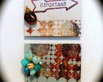 """Refrigerator Magnet Set 2 Upcycled Hand Stamped """"Important', Mixed Media Collage Art Vintage Jewelry Repurposed Kitchen Decor Gift Fridge"""