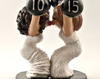 Bride and Bride Weight Lifting Wedding Cake Topper