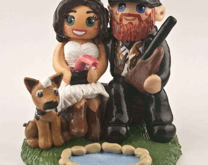 Bride and Groom Hunting and Fishing Wedding Cake Topper