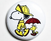 Rainy Day Snoopy - 1 inch Button, Pin or Magnet
