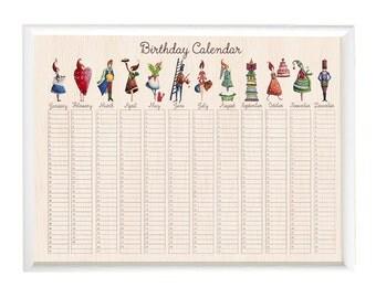 A3 Wooden Birthday Calendar, Important Dates, Home organization, Family birthday, Wall calendar, Planner, Family Birthday Board