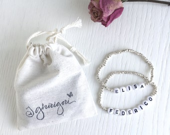 Name BRACELET  - with plastic letters and silver 925 beads.
