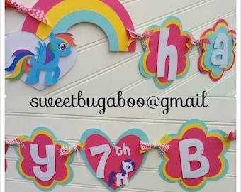 My little Pony Happy Birthday banner, Unicorn banner, Girls Birthday banner