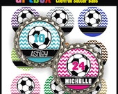 Editable Chevron Soccer Balls Bottle Cap Images - 4x6 Digital Jpeg File Collage Sheet - BottleCap One Inch Circles for Pendants, Hair Bows