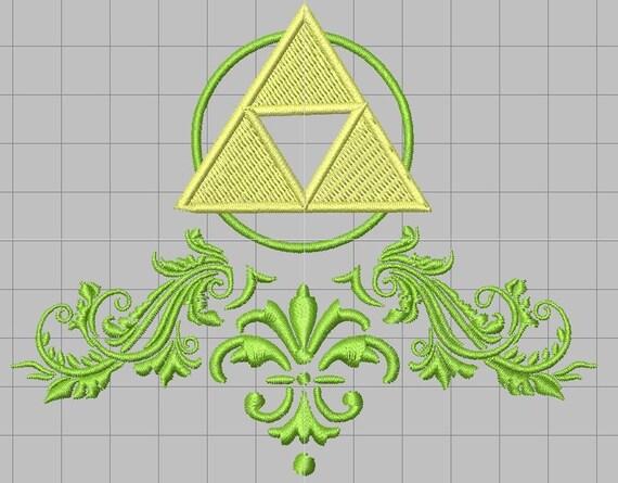 Zelda Fancy Embellished Triforce Machine Embroidery Design