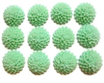 Sea Foam Green Resin Cabochon - Mint Dahlia - 15mm x 6mm - You Pick Quantity - Chrysanthemum - Mum - Bulk - DIY - Plastic Flower - Craft