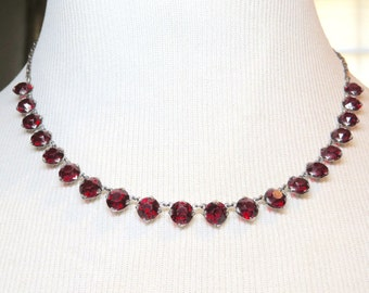 Vintage 50s Sterling Silver Open Back Crystal Necklace in Red