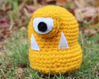 Grouch-Yellow Mini Monster Alien Crochet Plushie Soft Toy