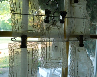 5 White Silk Embroidered Lace Batiste Doily With Tiny Ladder Work Exquisite Doily Antique Linens