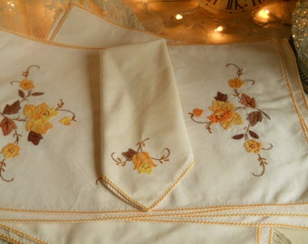 Collection of Golden Harvest Table Linens With Quilted Applique 7 Napkins 5 Placemats 1 Table Runner Beautiful Harvest Colors Vintage Linens