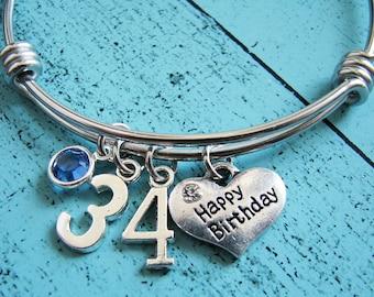 birthday gift, happy birthday bracelet, best friend birthday gift for her, birthday gift for mom, sister gift birthstone, wife birthday gift