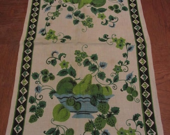 Vintage 60s Linen Dish Towel Green Fruit Print Black Border AS IS