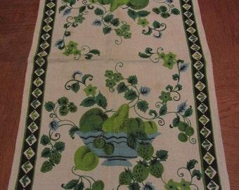 Vintage 60s Linen Dish Towel Green Fruit Print Black Border AS IS