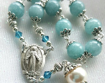 Lovely Our Lady of Grace Rosary - One Decade Rosary - Gemstone Catholic Rosary