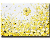 """GICLEE PRINTS Large Art Yellow Grey Abstract Painting Wall Decor Flowers Modern Coastal Canvas Print Gold White XL Sizes to 60"""" -Christine"""