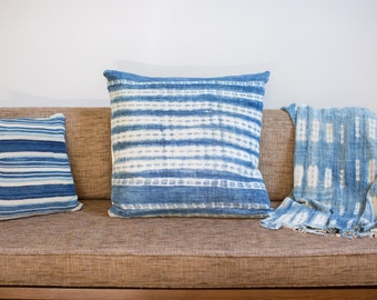 ON SALE 24x24 Large Faded Indigo Blue Pillow