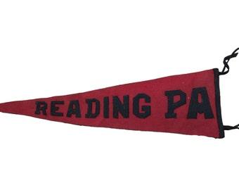 Antique Reading PA Felt Flag Banner Pennant