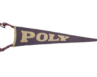 Antique Poly College Felt Flag Banner