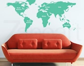 World Map Wall Decal with Continents