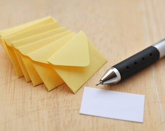 Tiny Yellow Love Notes // Set of 10 // Blank Cards // Love Note // Decoration // Scrapbooking // Embellishment // Ephemera // Paper Crafting
