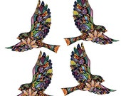 ON SALE 20% OFF Flying Birds Wall Decals Stickers for Walls and Windows - Set of 4 (Sku187-17)