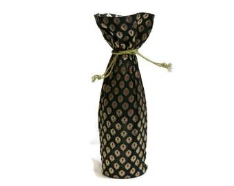Wine Bag Banaras sari fabric woven elegant brocade black gold fuschia gift bag Hostess gift favors reusable