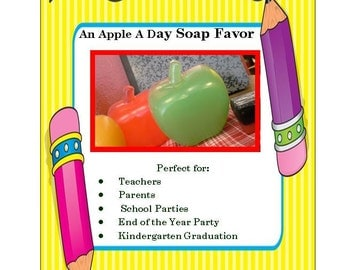 20 APPLE SOAPS, 20 Favors - Teacher Appreciation Gift, Class Soap Favor, End of the Year Party Gift, Kindergarten Graduation