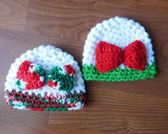 Baby Girl Christmas Crochet Bow Hat And Photography Prop All sizes