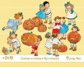 Digital Clipart, Vintage Halloween Clipart--Pumpkins, scared Children, kids, girls, boys, jack-o-lantern--PNG Files--9 Images 1853