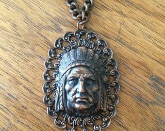 Vintage copper Native American necklace / Chief / boho chic