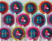 Chalkboard Bold Brights Roller Skate Birthday Cupcake Toppers - Set of 12
