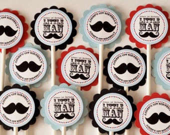 Little Man Mustache Birthday or Shower Cupcake Toppers - Set of 12