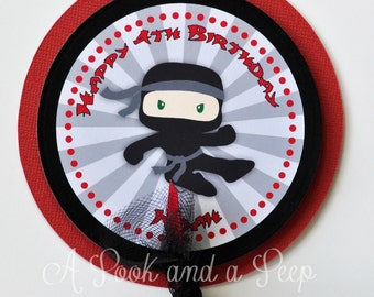 Custom Ninja Personalized Centerpiece Stake Cake Topper in Gray Red and Black