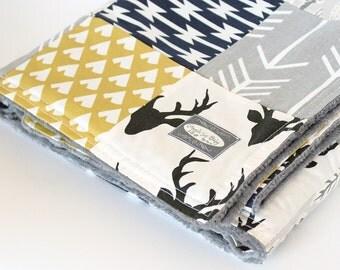 Patchwork Blanket - Black Buck Baby Blanket, Mustard Teepee and Grey Arrow