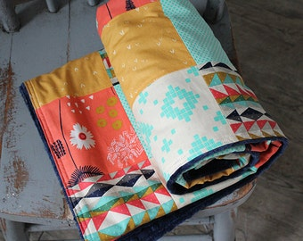 Patchwork Baby Blanket - Navy, Coral, Mint and Gold Aztec Crib Blanket