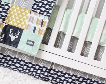 Woodlands Crib Bedding, Navy Deer, Grey Arrow, Mustard Tee pees and Mint Baby Bedding, Woodlands Nursery Crib Set