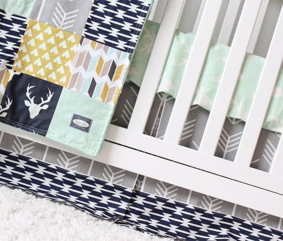 Woodlands Crib Bedding Navy Deer Grey Arrow Mustard Tee