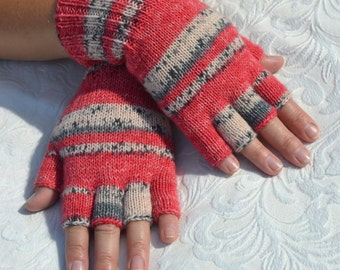 Hand-knitted half finger gloves, colorful wool half finger gloves, knit women's half fingers gloves, handmade wool arm warmers