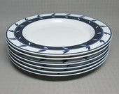 DANSK Concerto Allegro blue salad luncheon plate set of 6
