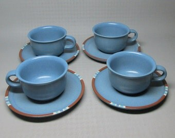 Dansk blue mesa set of four cups and saucers