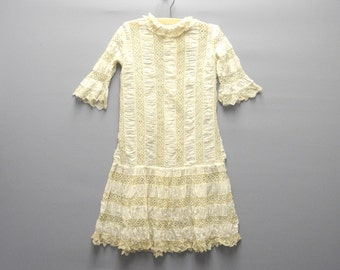 Vintage Girl's Clothes, 1870's Handmade Victorian Ivory and Beige Lace Drop Waist Dress Set, Victorian Girl's Dress,  Size 5-6
