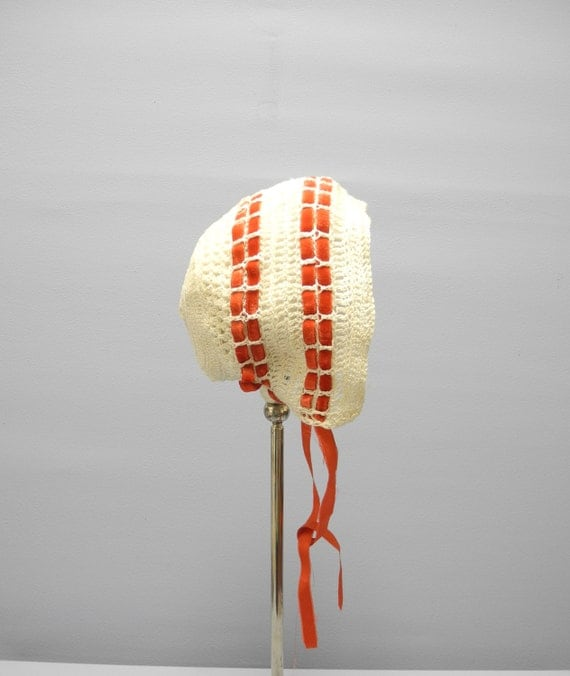 Vintage Baby Clothes, 1900's Handmade Ivory and Red Crocheted Baby Girl Bonnet, Vintage Baby Bonnet, New Mom Gift, Size 3-6 Months